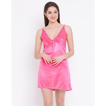 aada37828 Buy Clovia Satin Babydoll with Lace Neckline - Pink at Nykaa.com