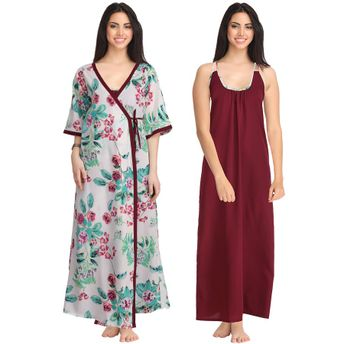 Clovia Crepe Nighty   Printed Robe Set - Multi-Color (Free Size)(Free Size) 7fdac0e79