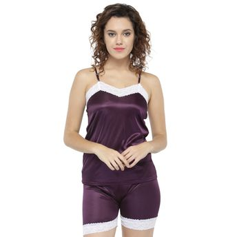 c74e6d3836 N-Gal Women Lace and Satin Purple Cami   Shorts Set at Nykaa.com