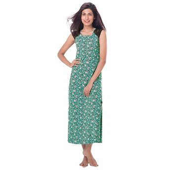 e96a79325c Buy PrettySecrets Cotton Lace Sleeved Nightdress - Green ...