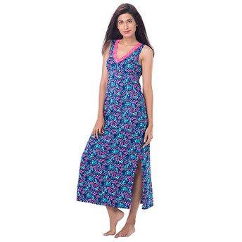 4e1f55bc81 Buy PrettySecrets Cotton Lace-Trim Sleeveless Nightdress - Blue ...