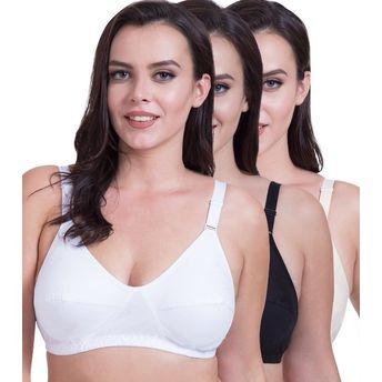 531a12bd5 Rajnie Side Shaper Full Coverage Plus Size Cotton Bra (Pack of 3) at ...