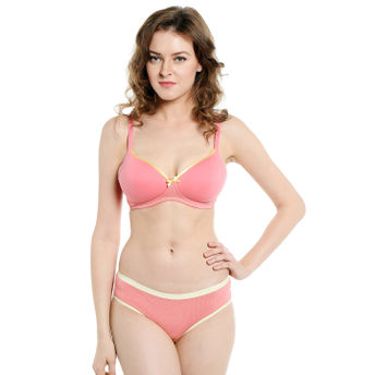 d084064dd6 S.O.I.E Everyday Non Wired Organic Cotton Padded Bra And Matching Panty -  Pink (40B)(40B)