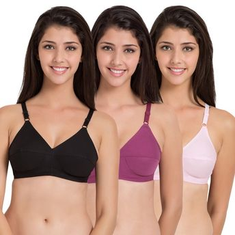 049b79aea2a67 Souminie Cotton Non Stretchable Multicolor Bra - Pack of 3 at Nykaa.com