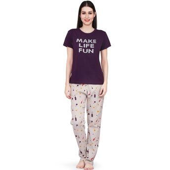 Velvet by night Wine Printed Hosiery Top   Pajama Set for Women at ... 9df508160