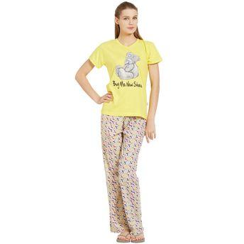 d8ae1acde73ff3 Velvet by night Yellow Printed Hosiery Round Neck Top   Pajama Set ...