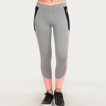 9e4aa40244 Zivame Zelocity Neo Play Training Legging - Grey N Neon Pink at ...