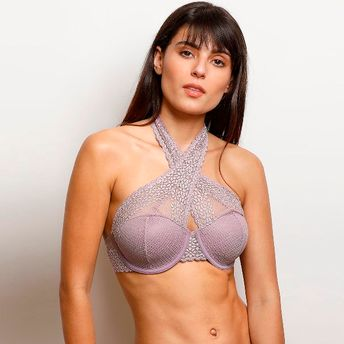 901019b21d2f0 Zivame Moroccan Lace Halter Neck Wired Bralette - Purple at Nykaa.com