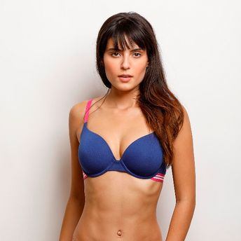 dde023d6629a1 Zivame Sporty Twist Padded Wired T-Shirt Bra - Blue at Nykaa.com